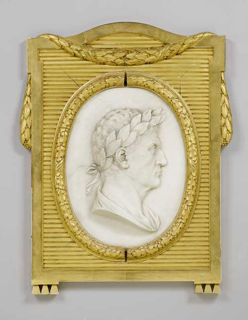OVAL MARBLE RELIEF FEATURING THE BUST OF AN EMPEROR,