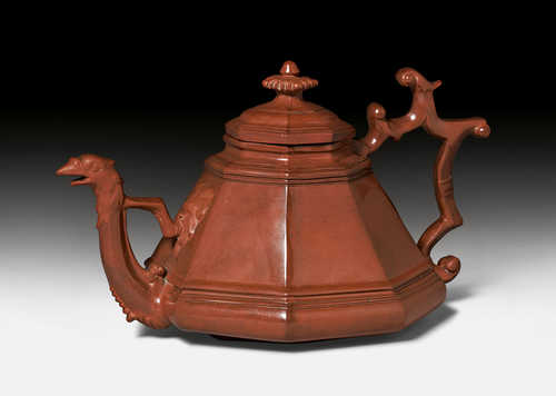 BÖTTGER STONEWARE TEAPOT AND COVER,