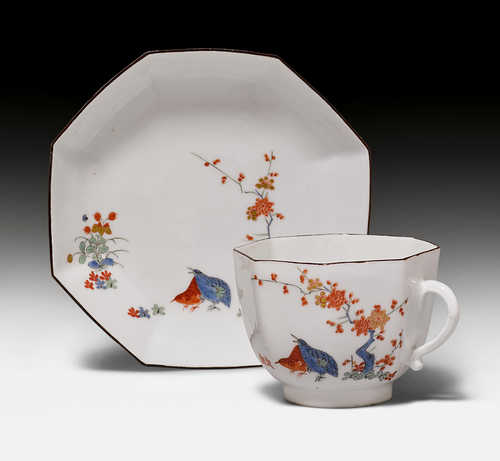 "CUP AND SAUCER WITH ""WACHTELDEKOR"","