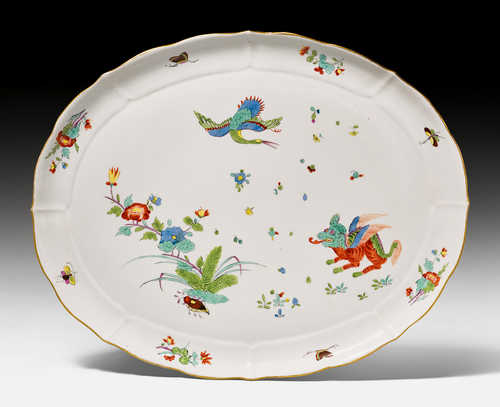 "OVAL PRESENTATION PLATTER WITH ""CHI'LIN"" DECORATION,"