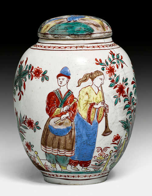 "A RARE ""GRÜNEN FAMILIE"" FAIENCE TEA CADDY,"