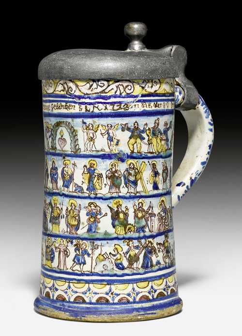 FAIENCE TANKARD DEPICTING THE PASSION