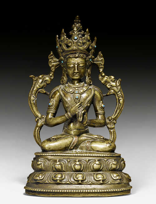 A COPPER ALLOY FIGURE OF VAIROCANA.