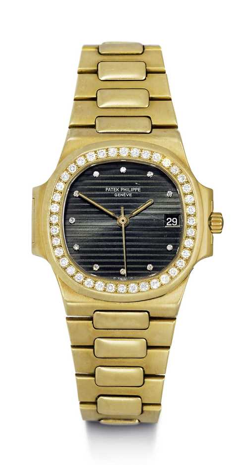 Patek Philippe Nautilus, diamond Gentleman's watch, 1980s.