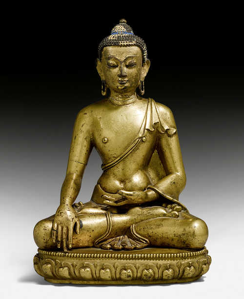 A GILT COPPER ALLOY FIGURE OF BUDDHA SHAKYAMUNI.