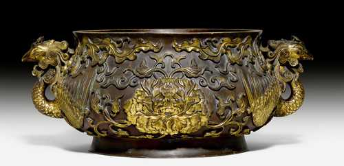 "AN IMPORTANT IMPERIAL ""PHOENIX AND PEONY""-BRONZE CENSER."