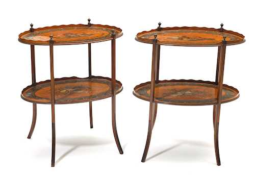 PAIR OF OVAL SIDE TABLES,