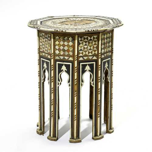 SIDE TABLE WITH BONE AND MOTHER-OF-PEARL INLAYS,