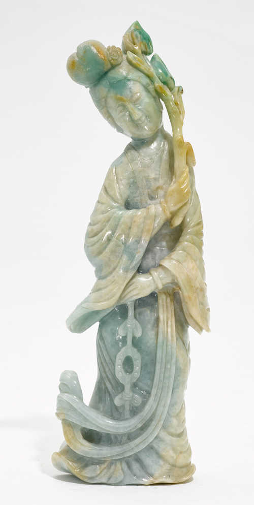 A JADE FIGURE OF A FEMALE IMMORTAL.