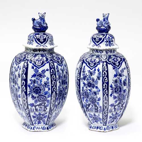"PAIR OF ""DELFT"" FAIENCE VASES WITH LIDS"