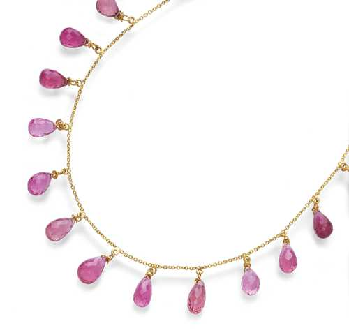 RUBELLITE AND GOLD NECKLACE.