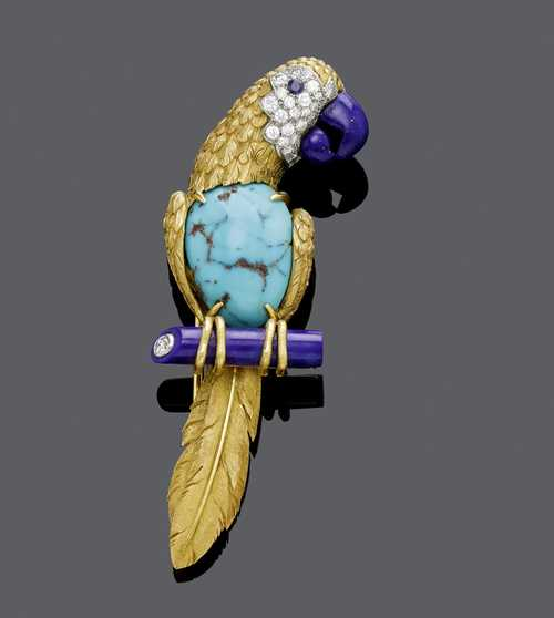 TURQUOISE, LAPIS LAZULI AND DIAMOND CLIP BROOCH, France, ca. 1970.
