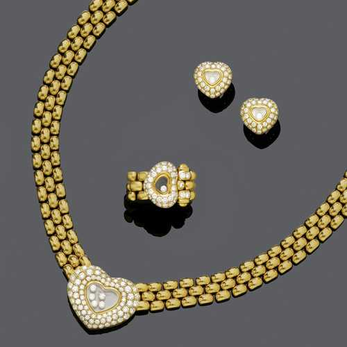 GOLD AND DIAMOND NECKLACE WITH RING AND EARRINGS, BY CHOPARD, ca. 1990.