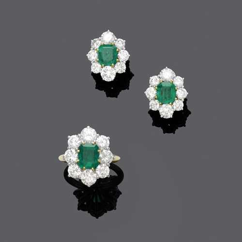 EMERALD AND DIAMOND RING WITH EARCLIPS, ca. 1960.