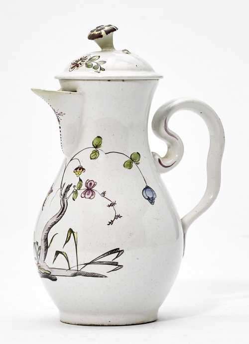 SMALL 'PFEIFENERDE' COFFEE POT WITH FAR EASTERN DECORATION