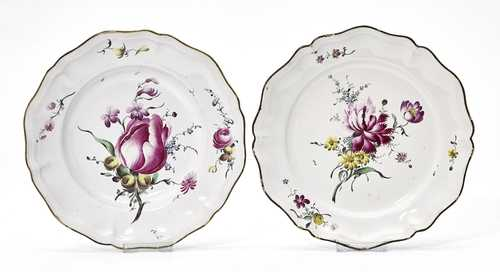 "LOT COMPRISING TWO FAYENCE PLATES ""FLEURS FINES"","
