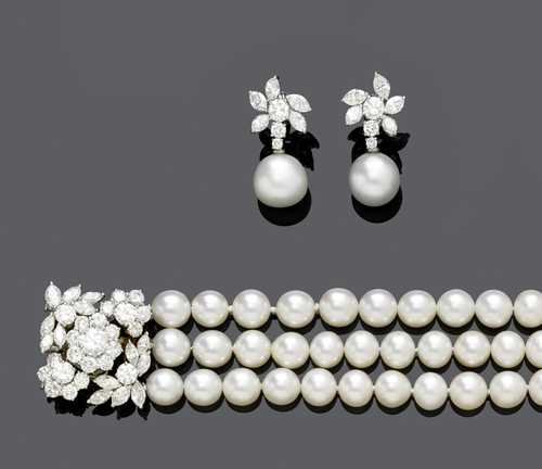 PEARL AND DIAMOND NECKLACE WITH EAR PENDANTS, ca. 1980.
