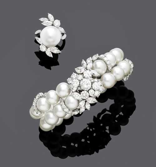 PEARL AND DIAMOND BANGLE WITH RING, ca. 1980.