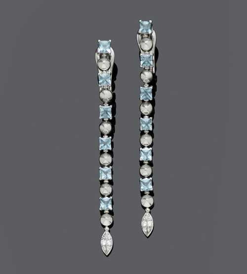 TOPAZ AND DIAMOND EAR PENDANTS, BY BULGARI.