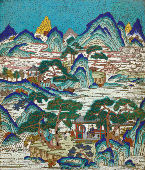 A CLOISONNE ENAMEL PANEL DEPICTING A LANDSCAPE.