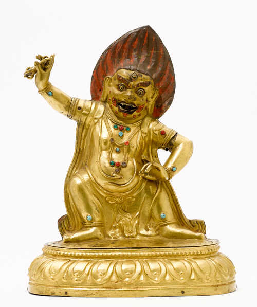 A GILT COPPER REPOUSSE FIGURE OF VAJRAPANI.