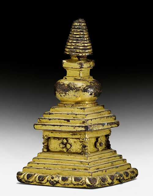 A GILT COPPER ALLOY STUPA.