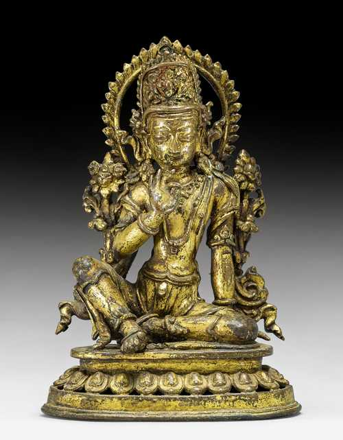 A GILT COPPER ALLOY FIGURE OF INDRA.