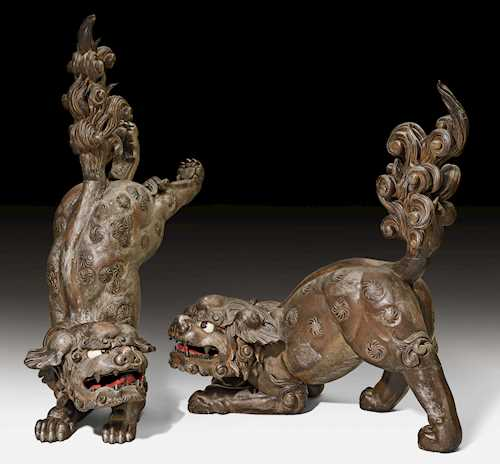 A PAIR OF LARGE KARA SHISHI (TEMPLE LIONS).