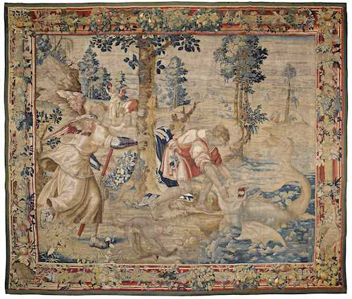 "RARE TAPESTRY ""Tobias mit dem Fisch"" (""Tobias with the Fish""),"