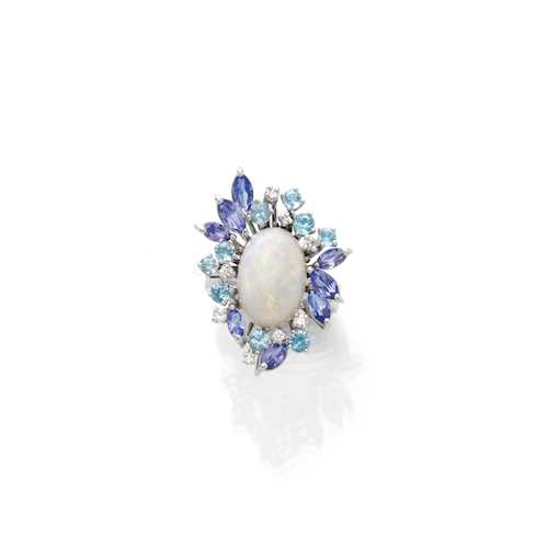 OPAL, TANZANITE, AQUAMARINE AND DIAMOND RING.