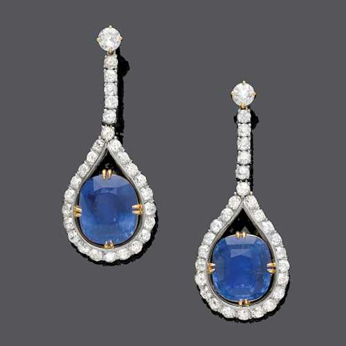 CEYLON SAPPHIRE AND DIAMOND EAR PENDANTS.