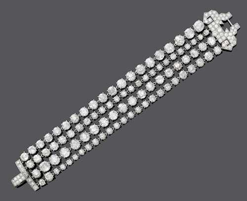 DIAMOND BRACELET/SAUTOIR, BY CARTIER.