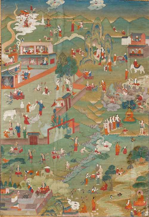A FINE NARRATIVE THANKA OF THE LIFE OF BUDDHA.