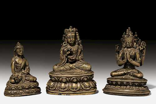 THREE SMALL BRONZE FIGURES.