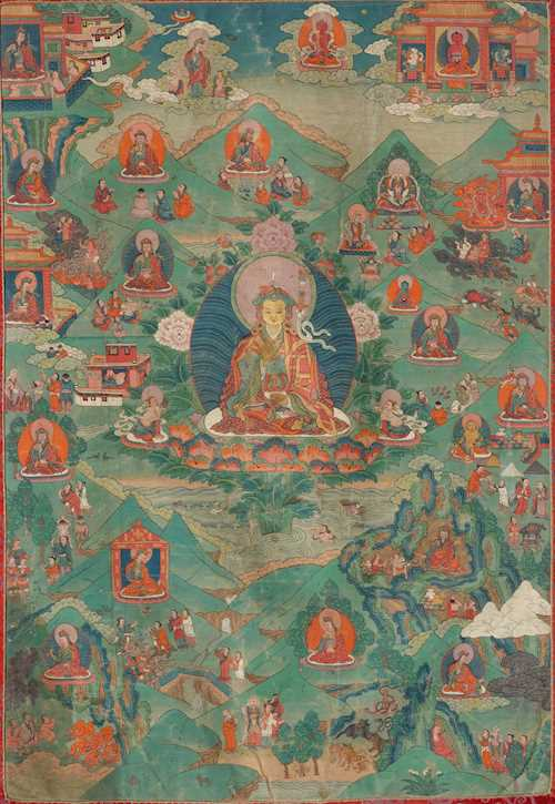 A FINE THANKA OF PADMASAMBHAVA WITH EPISODES OF HIS LIFE.
