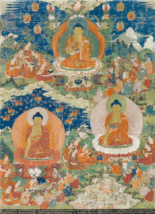 A FINE THANGKA OF SHAKYAMUNI WORKING WONDERS.