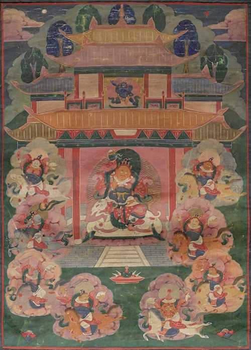 A THANGKA OF VAISHRAVANA AND THE EIGHT HORSEMEN.