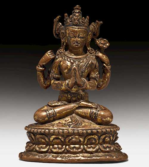 A SMALL FIGURE OF AVALOKITESHVARA SHADAKSHARI.