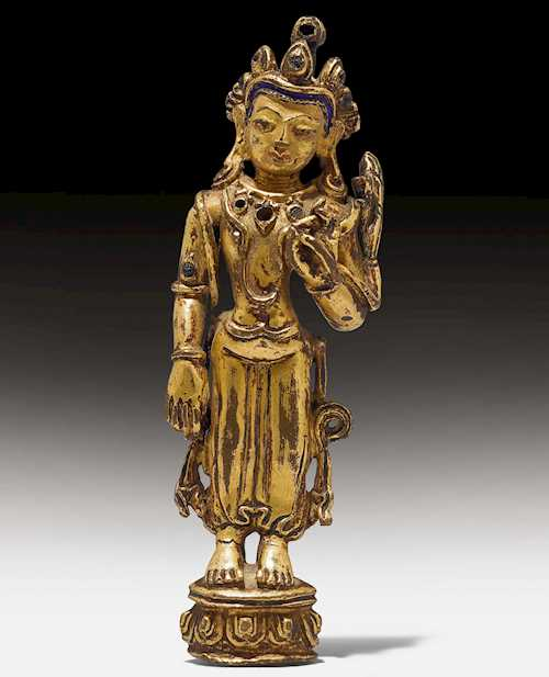 A SMALL GILT COPPER ALLOY FIGURE OF PADMAPANI.
