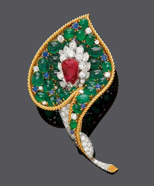 RUBY, EMERALD, SAPPHIRE AND DIAMOND CLIP BROOCH, BY VAN CLEEF & ARPELS, NYC 1964.
