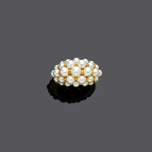 PEARL AND DIAMOND RING, BY CARTIER, ca. 1990.