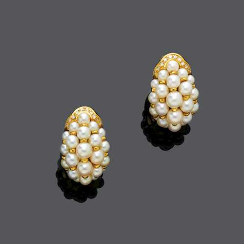 PEARL AND DIAMOND EARCLIPS, BY CARTIER, ca. 1990.