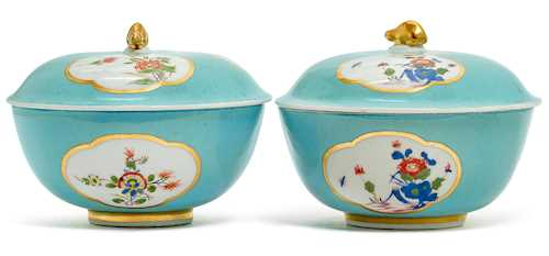 TWO RARE LIDDED BOWLS WITH CELADON-GREEN BACKGROUND,