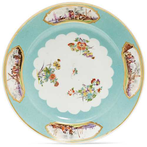 PLATE WITH CELADON-GREEN BACKGROUND, FEATURING MERCANTILE SCENES,