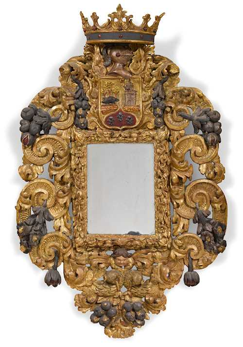 LARGE CARVED MIRROR WITH COAT-OF-ARMS CARTOUCHE,