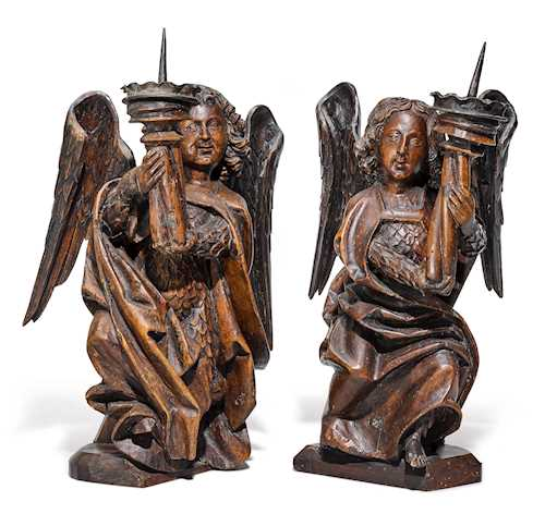 PAIR OF CANDLESTICKS DESIGNED AS ANGELS,