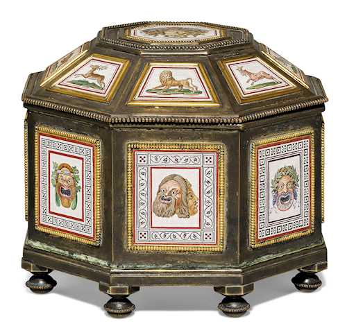 OCTAGONAL CASKET WITH MICRO-MOSAIC INLAYS,