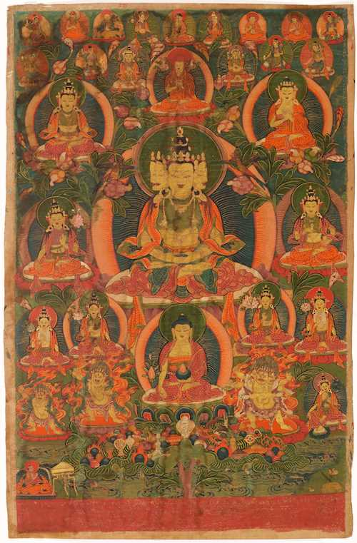 A THANGKA OF A FOUR-HEADED PEACEFUL DEITY.