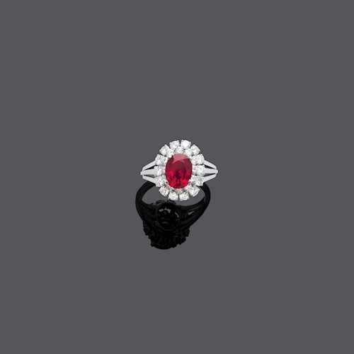 BURMA RUBY AND DIAMOND RING, BY GÜBELIN, ca. 1970.