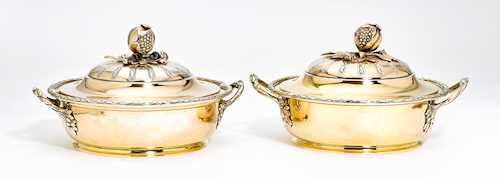 PAIR OF SILVER-GILT LIDDED TUREENS
